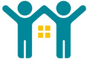 Logo von Schriese fair-mietet: Zwei händchenhaltende Strichmännchen strecken die Arme nach oben. Zwischen ihnen befinden sich vier kleine gelbe Quadrate.