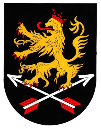 Auf schwarzem Feld ein rot gekrönter, rot bezungter, rot bewehrter goldener (gelber) Löwe auf zwei schräg gekreuzten, rot befiederten silbernen (weißen) Pfeilen stehend.
