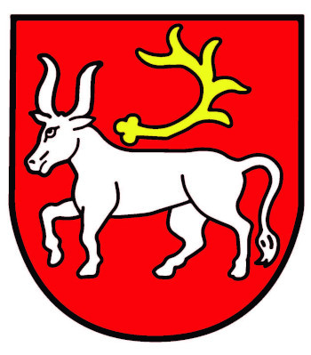 Das Ursenbacher Wappen zeigt in Rot ein schreitender silberner Ochse, über dessen Rücken eine fünfendige goldene Hirschstange schwebt.